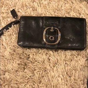 Authentic COACH black leather wristlet